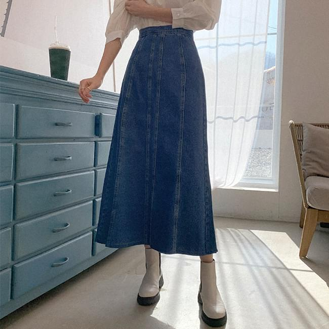 Good Choice Denim Flare Long Skirt