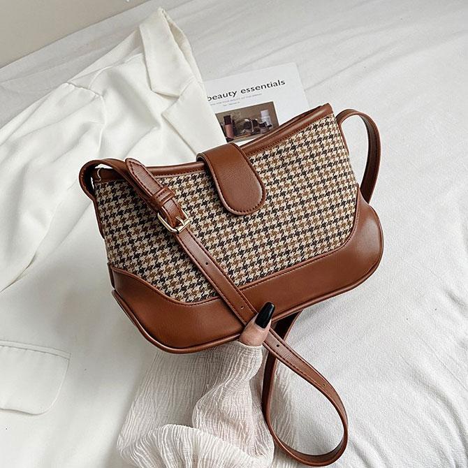 Creve woolen leather-embellished shoulder bag