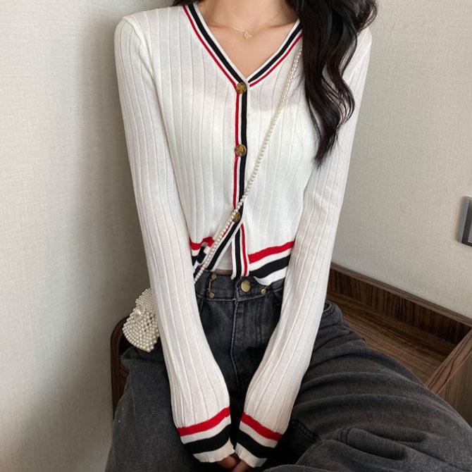 Candy slim V-neck sweater cardigan