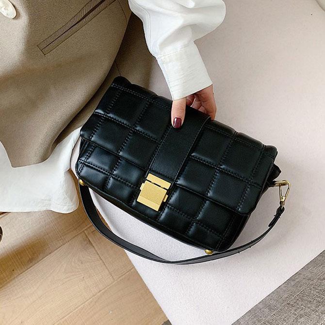 Rev Soft Square Grid Pattern Crossbody Bag