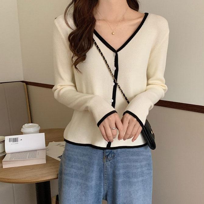 Simple Plain V Neck Sweater Knitwear Cardigan