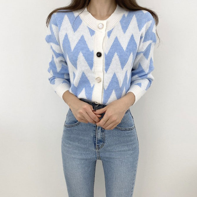 Geometric Color Knitwear Sweater Cardigan