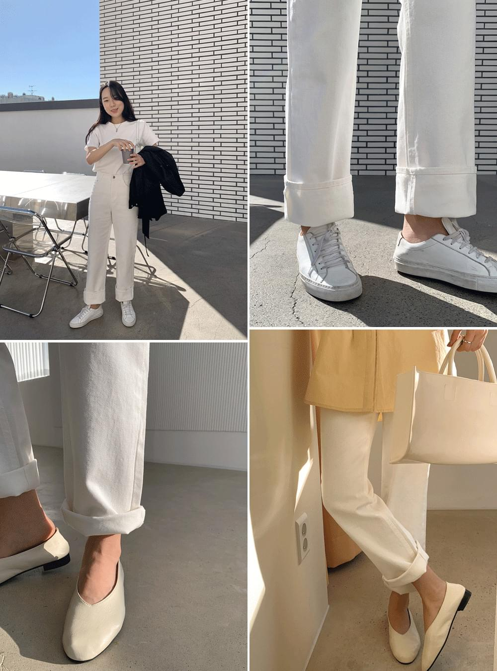 Clean White Straight Pants