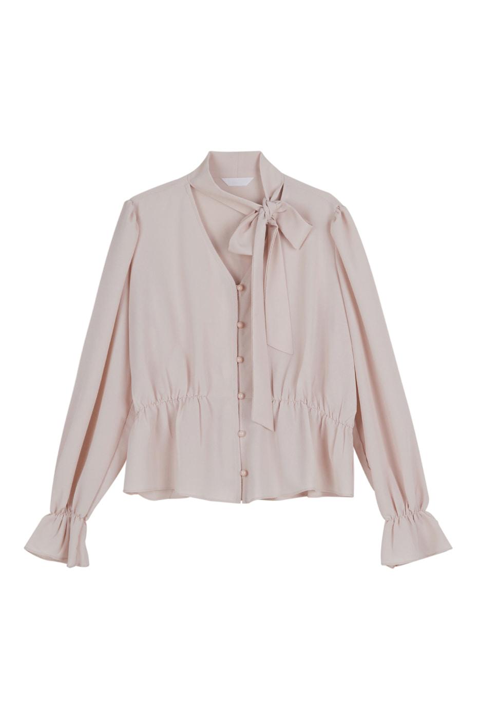 Rose tie blouse