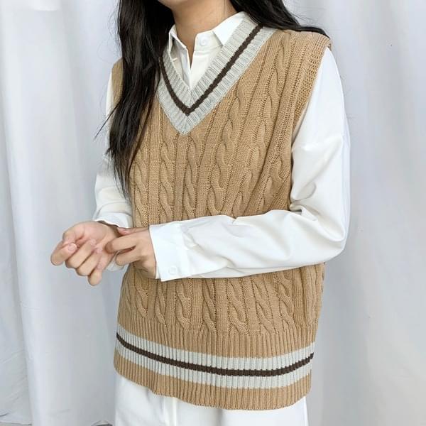 Point Color V Knitwear Vest