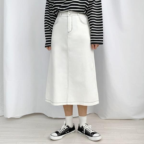 Stitched back split long skirt