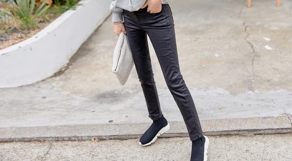 Coated Straight Fleece-lined Pants #75056