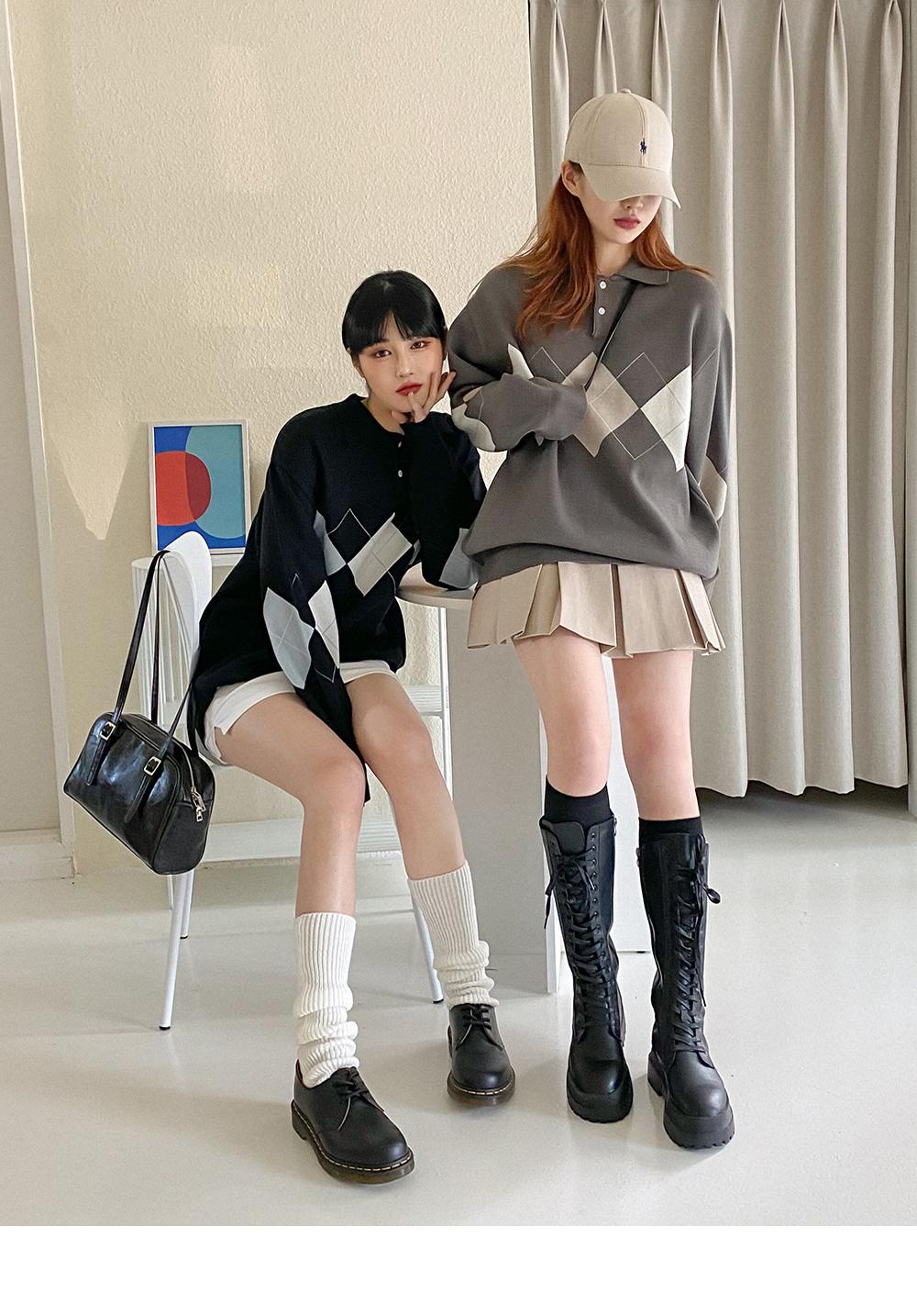 Celloa Argyle Collar Knitwear