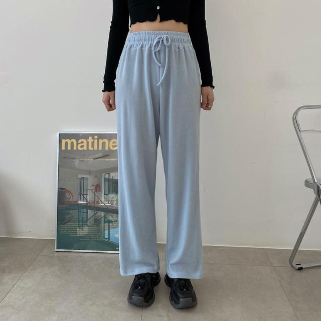 Soup is Ribbed teuim wide pants