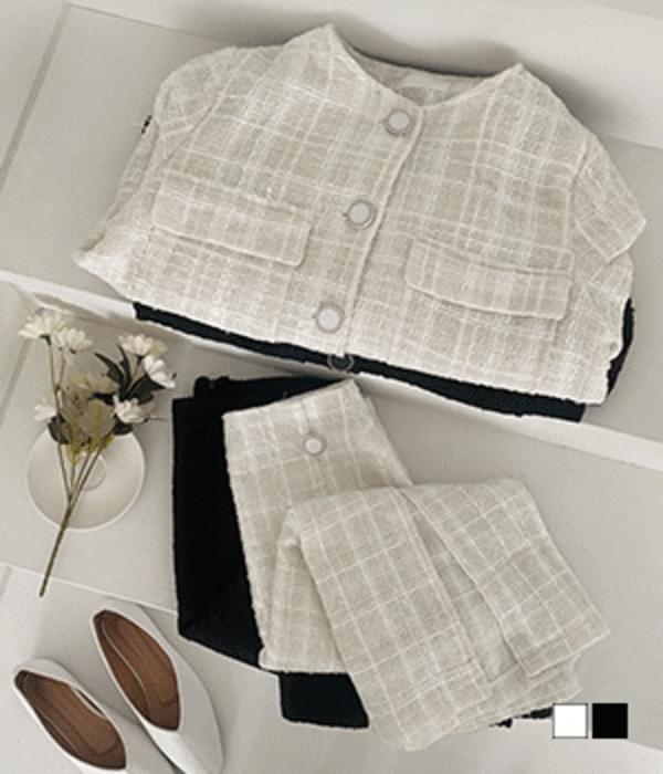 Croissant tweed no-collar button jacket