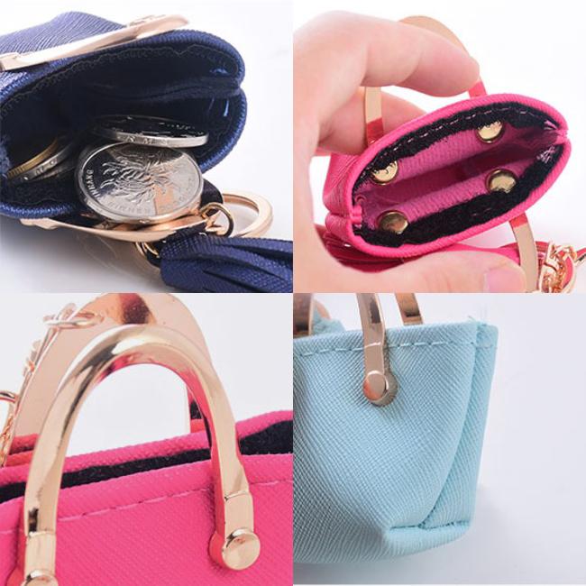 Mini leather bag pastel key ring