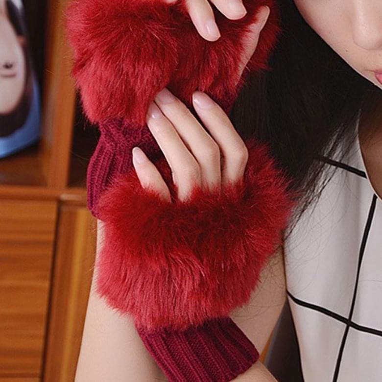 Rabbit Fur Warmer Half Knitwear Gloves