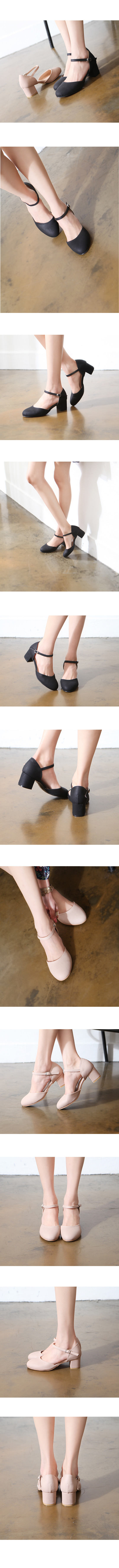 Round Toe Mary Jane Whole Heel Middle Heel Black