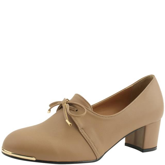 Ribbon bootie full heel middle heel shoes beige