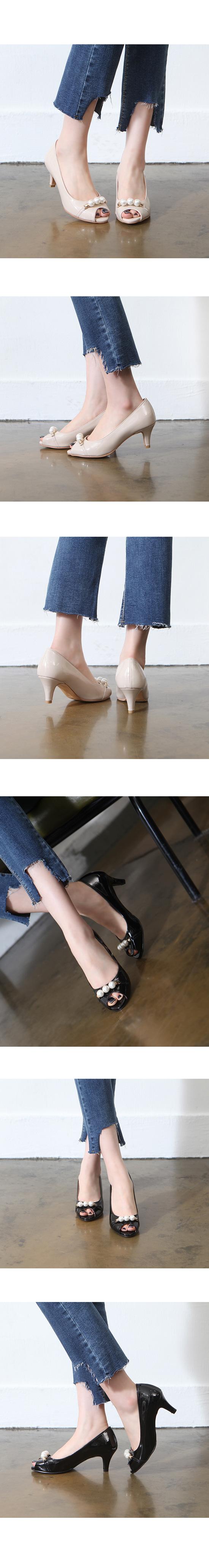 Beaded Toe Open Enamel High Heel Beige