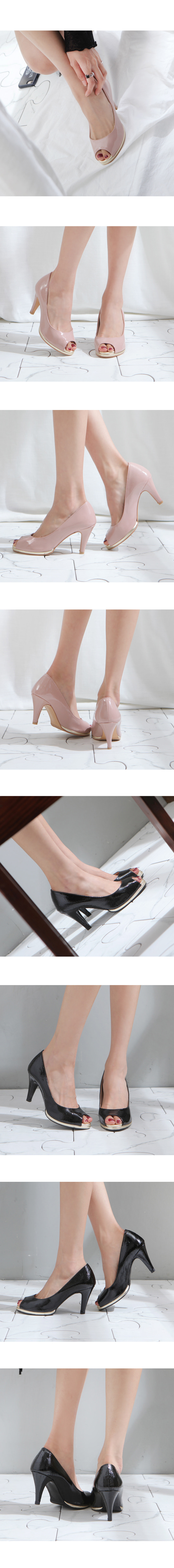 Enamel Toe Open Heels High Heels