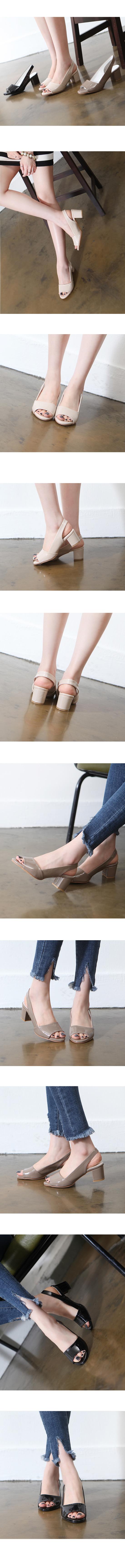 Enamel Toe Open Slingback High Heels Gray