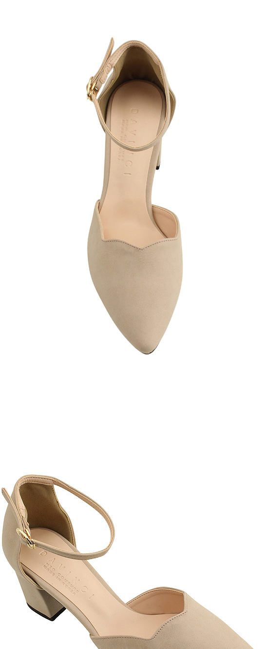 Strap wave stiletto high heels pink