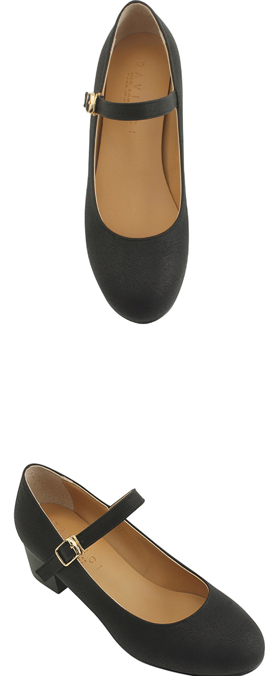 Round Nose Mary Jane Middle Heel Pumps Black