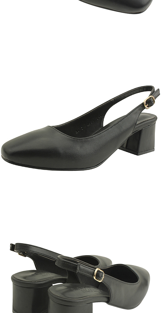 Slingback Square Toe Full Heel Middle Heel Black