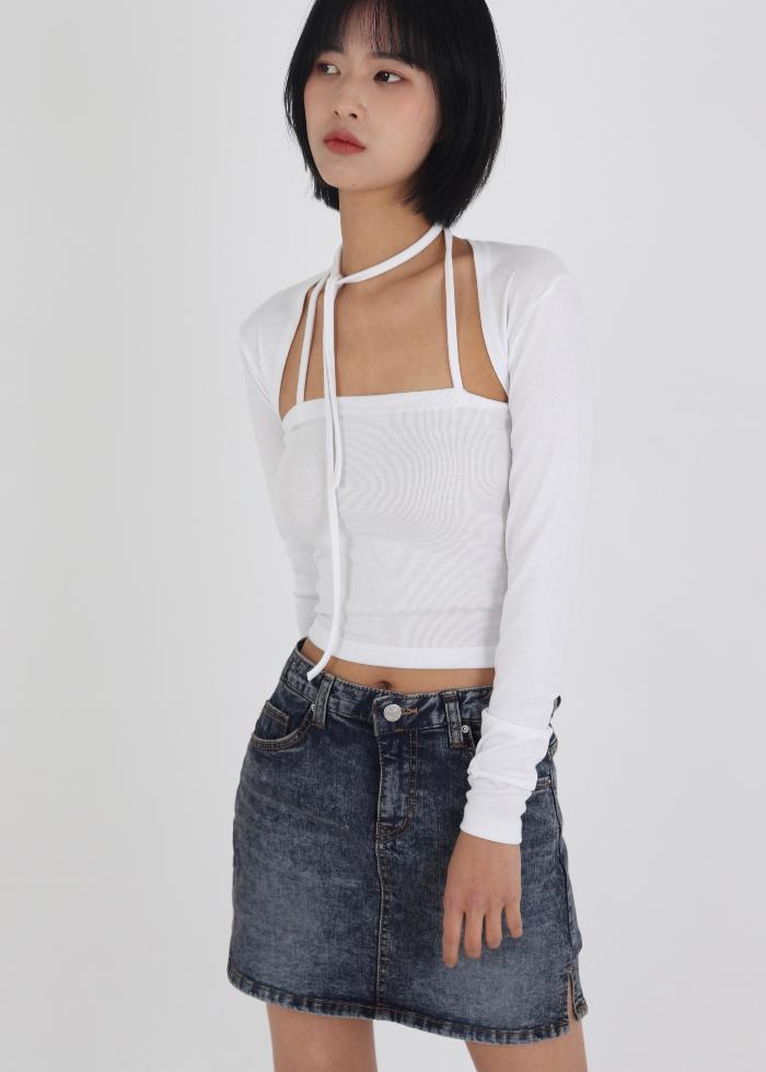 Low Waist Faded Denim Mini Skirt