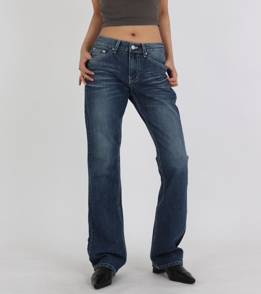 Faded denim low-waist Flared trousers