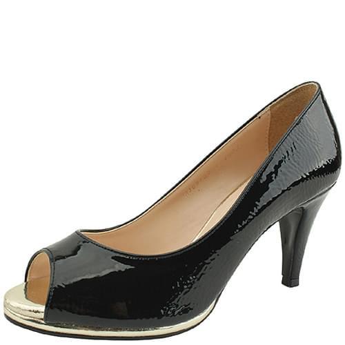 Open Toe Wrinkled Enamel Heels High Heels Black