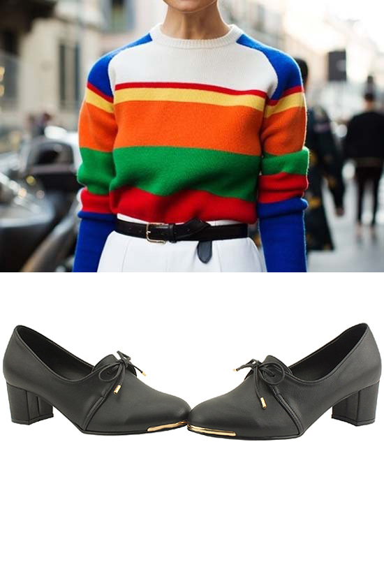 Ribbon booty full heel middle heel shoes black