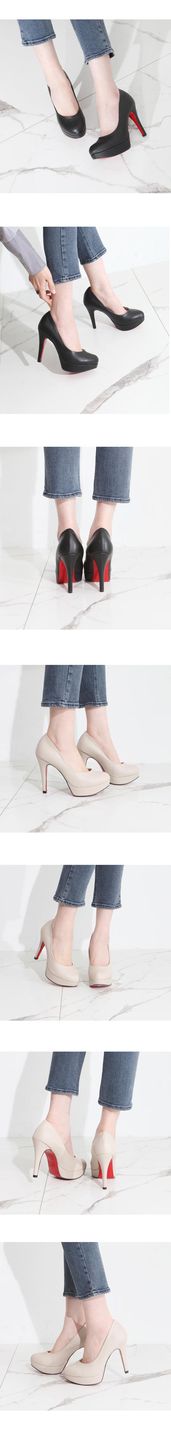 Round nose heels high heels 11cm beige