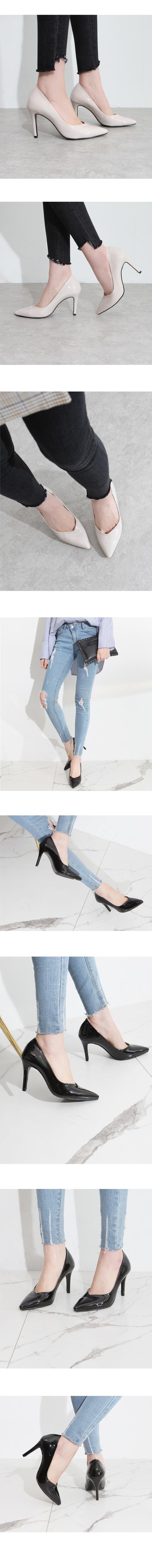 Slim Stiletto High Heel Enamel Black