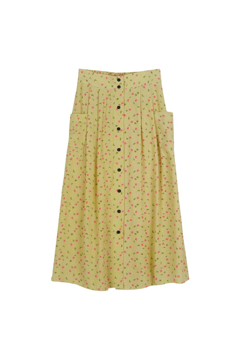 Lara floral button midi skirt