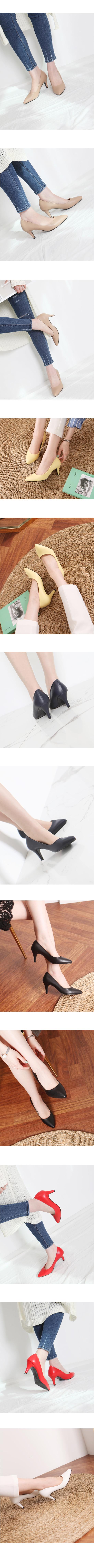 Stiletto high heel basic shoes 7cm jean beige