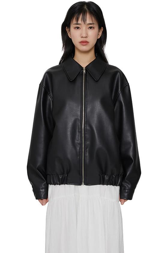 Men's zip-up leather jacket