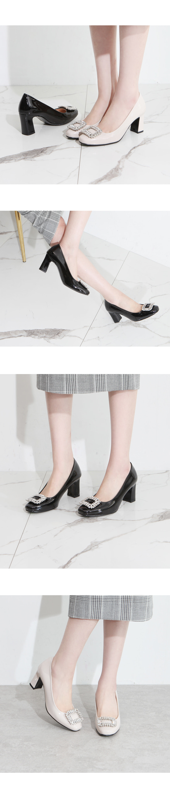 Enamel cubic beads high heel shoes beige