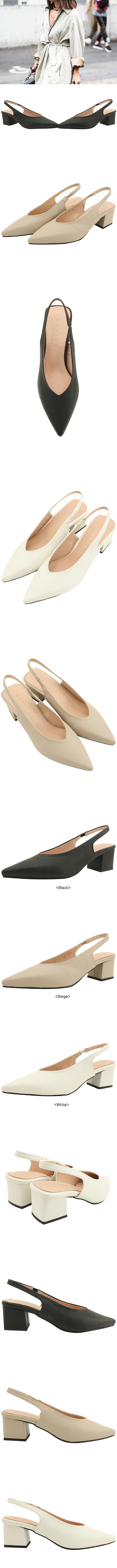 Stiletto heel slingback middle heel white
