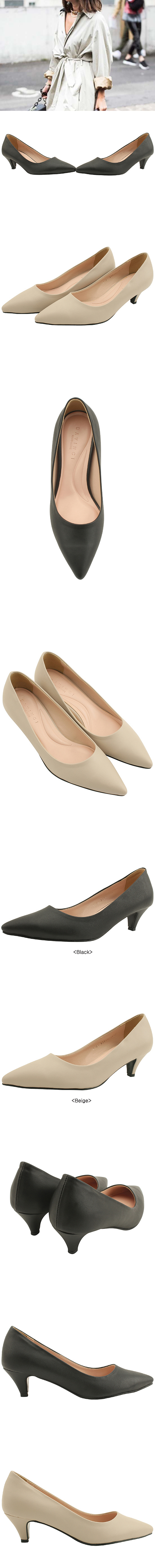 Simple Line Stiletto Middle Heel 5cm Black
