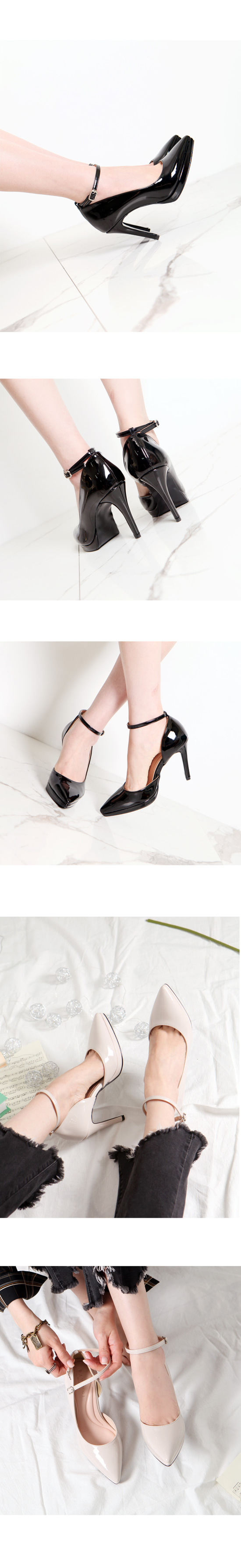 Enamel Heirloom Stiletto High Heels Black