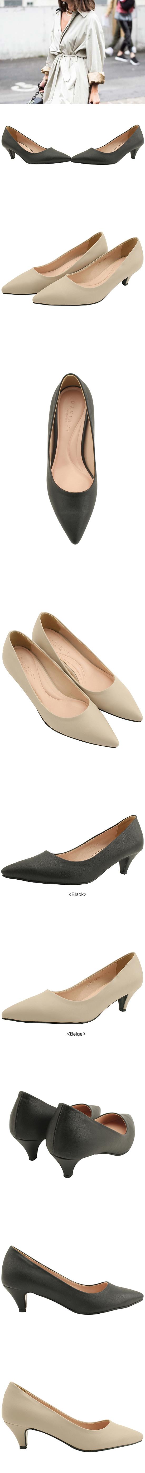 Simple Line Stiletto Middle Heel 5cm Beige