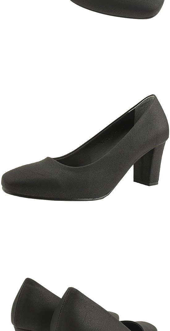 Square Nose Simple High Heel Pumps 7cm Black