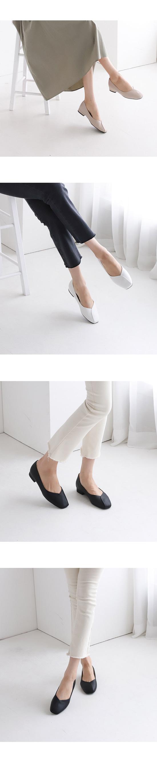 Square Toe Low Heel Flat Pumps White