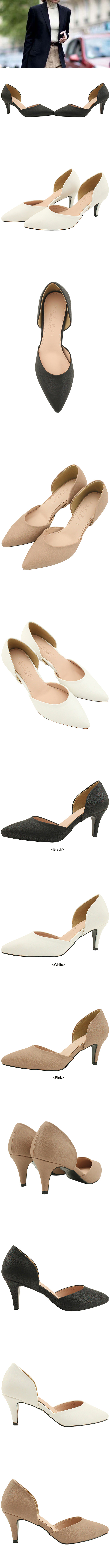 Side Open Stiletto Heel 7cm Black