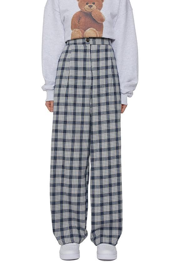 Spring check casual pants