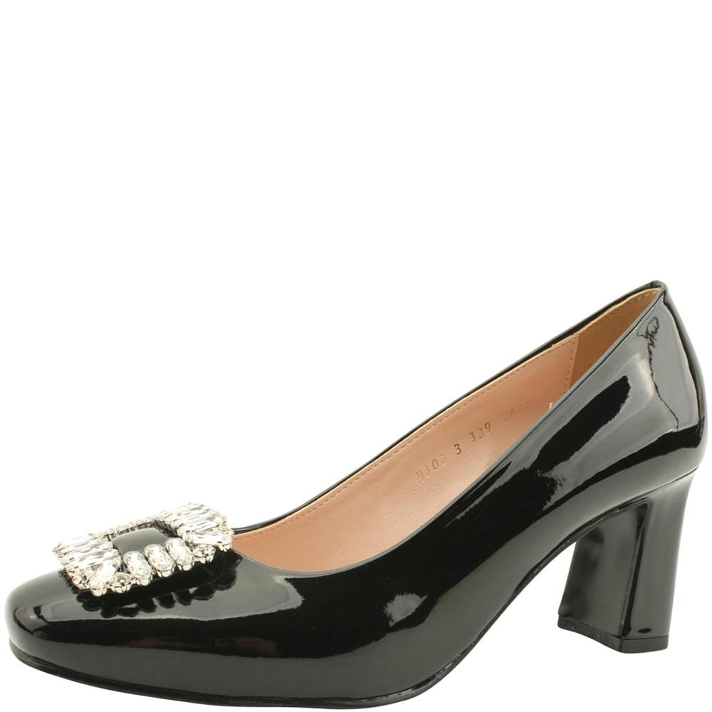 Enamel cubic beads high heels shoes black
