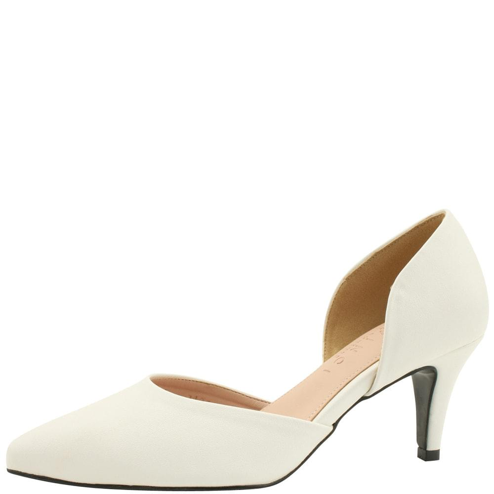 Side Open Stiletto Heel 7cm White