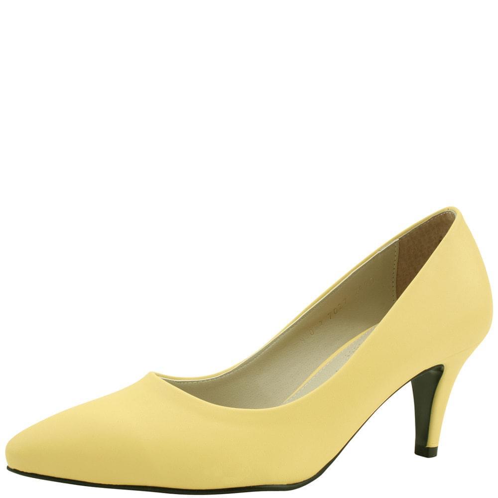 Stiletto high heel basic shoes 7cm yellow