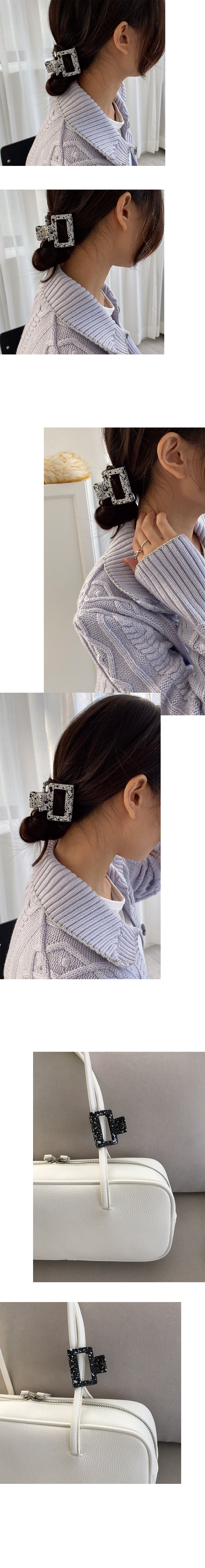 marble paint spuare hair pin