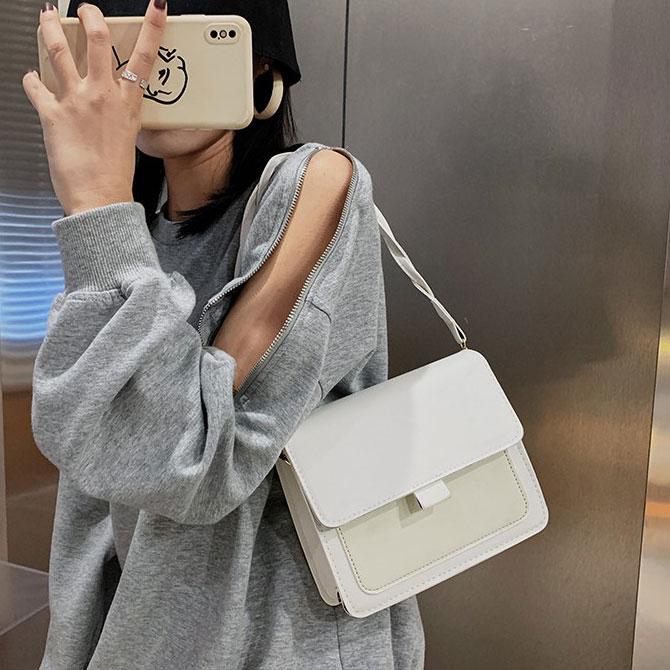 Soft Plain Square Tangle Strap Shoulder Bag