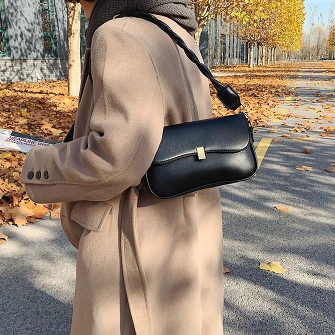 Ruen Modern twist-string leather shoulder bag