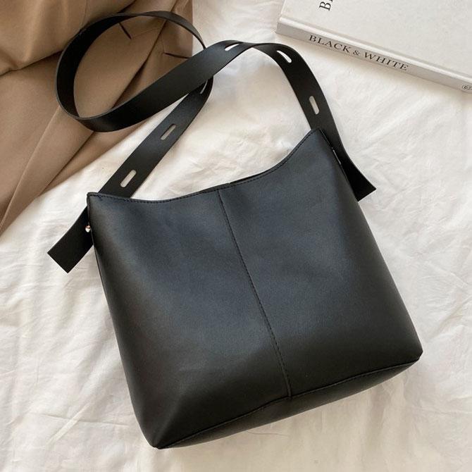 Miel simple plain bucket shoulder bag