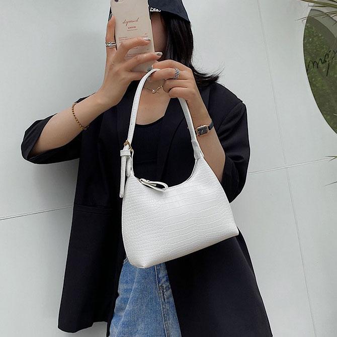 Round crocodile-pattern leather shoulder bag